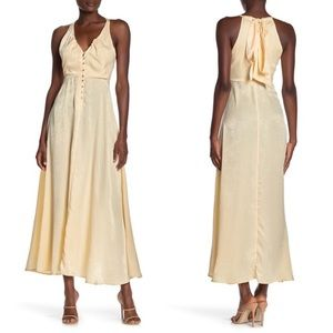 NWT Free People Olivia Satin Maxi Tie-Back Dress S